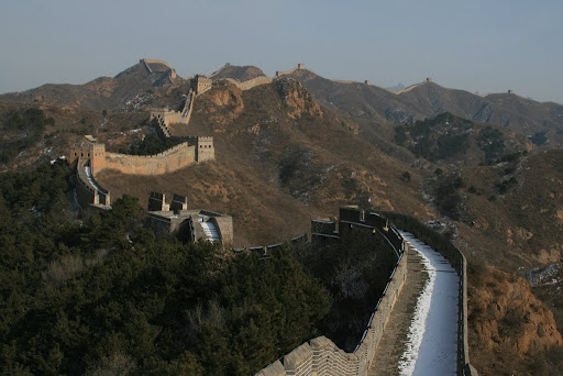 The Great Wall undulates over the horizon as far as you can see, an amazing feat of engineering.