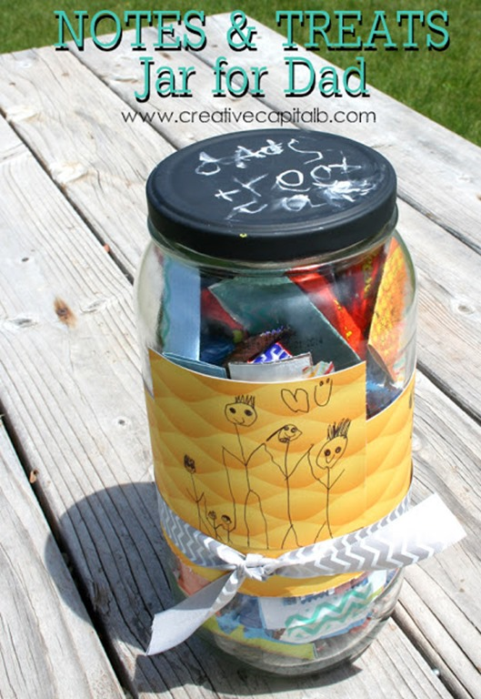 Father Day Treat Jar with cute drawings from the kids on each piece- simple and fast, but sure to be loved!