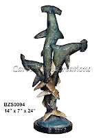 3 Hammerhead Sharks with Special Patina