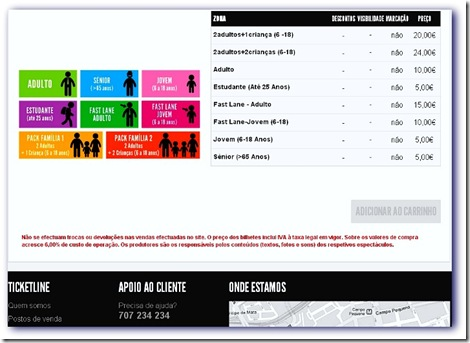 Imagem da página de compra on line dos tickets para a exposição de Joana Vasconcelos no Palácio Nacional da Ajuda, Lisboa
