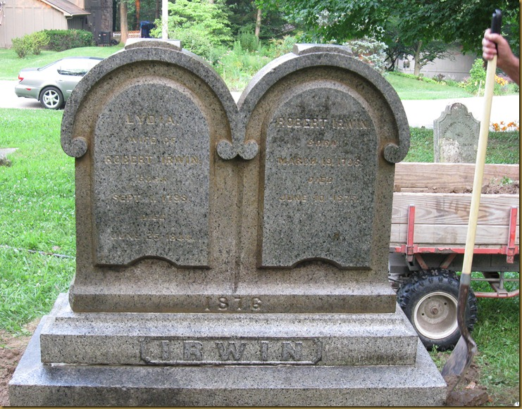 Robert Irwin and his wife Lydia (Cox) Irwin are buried at Old Pisqua Cemetery