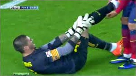 Víctor Valdés sufre grave lesión a la rodilla en partido Barcelona - Celta Vigo