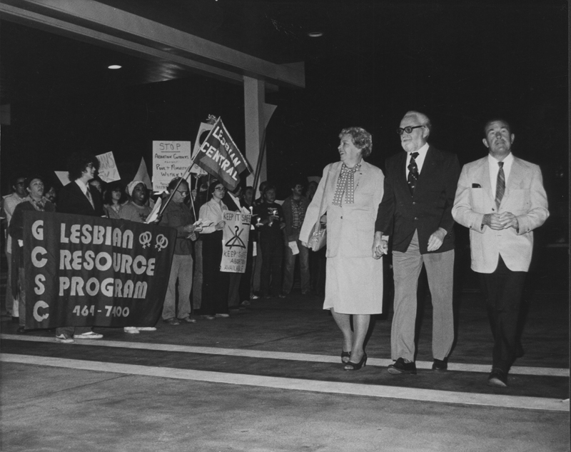 Protestors demonstrate against Jerry Falwell. November 1981.