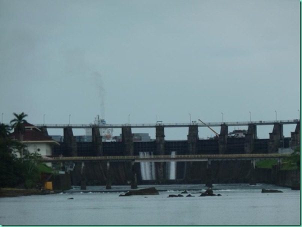 chagres downstream of spillway dam container ship and repair barge