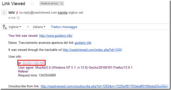 Notifica Wasitviewed di avvenuta apertura del link monitorato