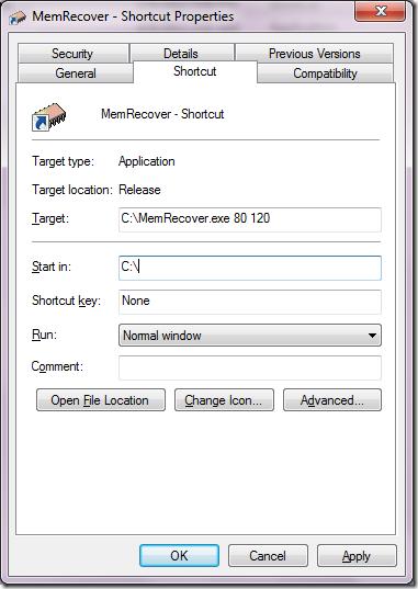 MemRecover shortcut