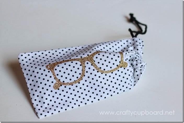 Glasses Pouch with Glitter Iron On Decal