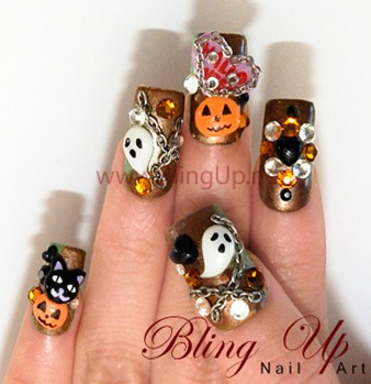 glitter-dark-brown-halloween-nail-arts