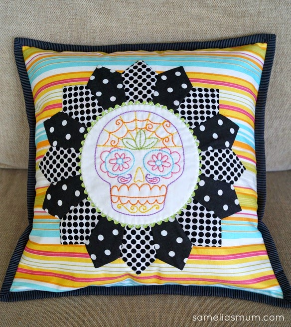 Sugar Skull Embroidery Cushion