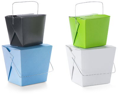 You can purchase different colored Chinese takeout cartons from The Container Store.