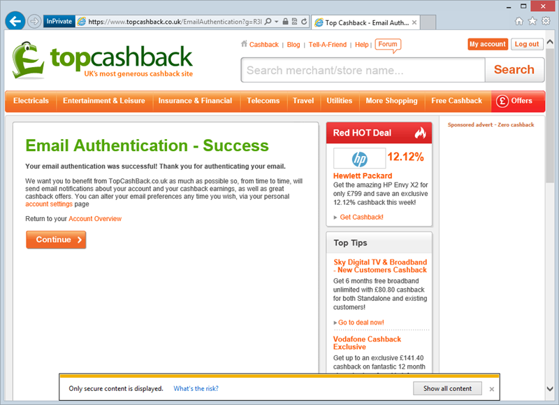 Top CashBack email authentication page