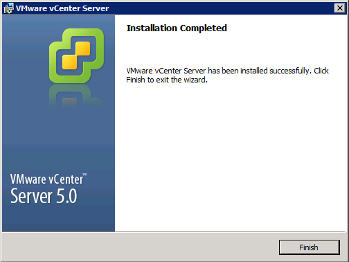 VMware vCenter Server Installer - Installation Completed