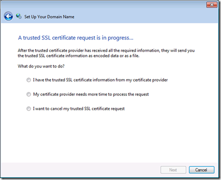 SSL Certificate request in progress