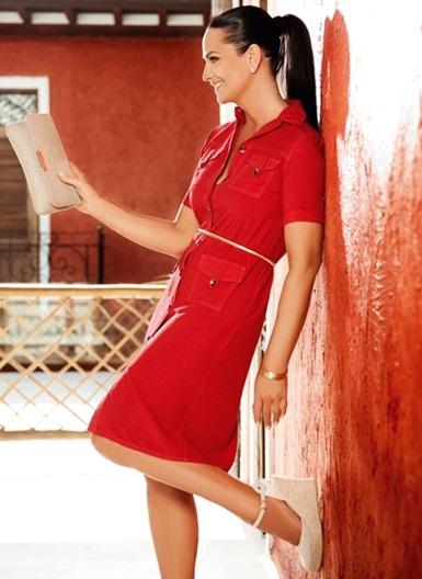 Luiza Brunet vestido vermelho