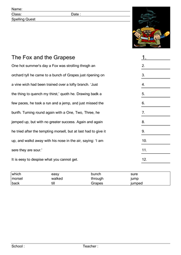 spelling quest1 the fox and the grape