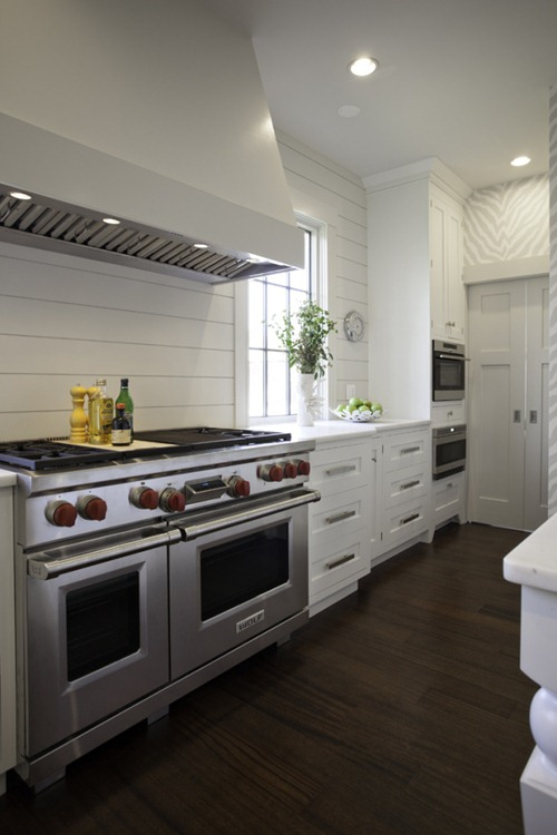 white wood planked backsplash