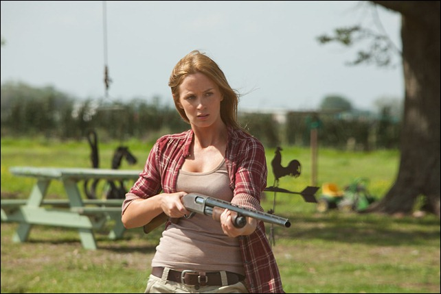 "Emily Blunt as ""Sara"" in TriStar Pictures, Film District, and End Game Entertainment's action thriller LOOPER."