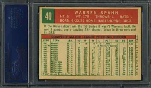 1959 Topps 40C warren spahn born in 1921 back