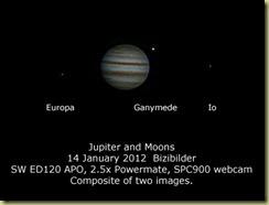 14 January 2012 Jupiter and Moons