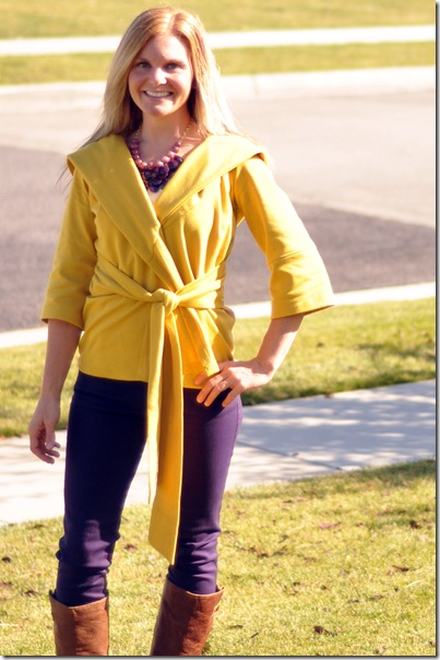 Plum skinnies mustard wrap