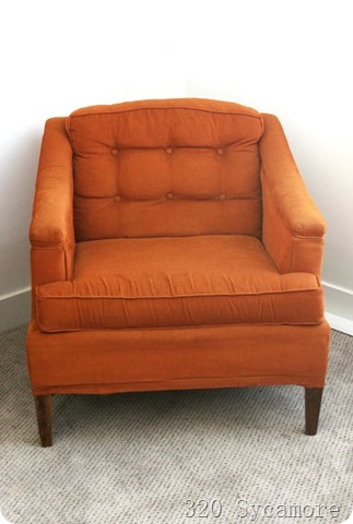 orange chair with skirt removed