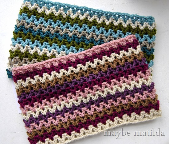Maybe Matilda Quick Striped V Stitch Cowl Free Crochet Pattern