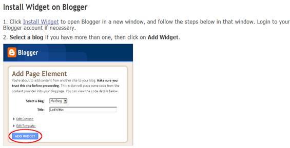 Install Widget on Blogger