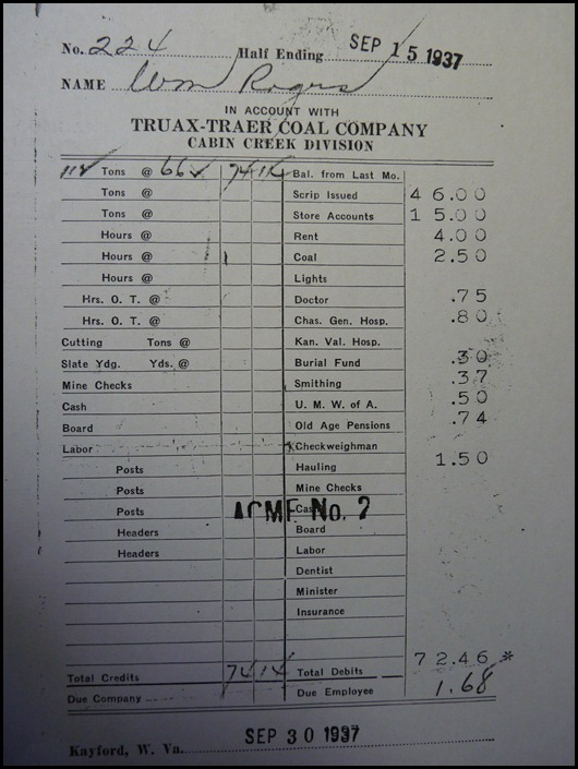 Beckley Exhibition Coal Mine WV-Payslip
