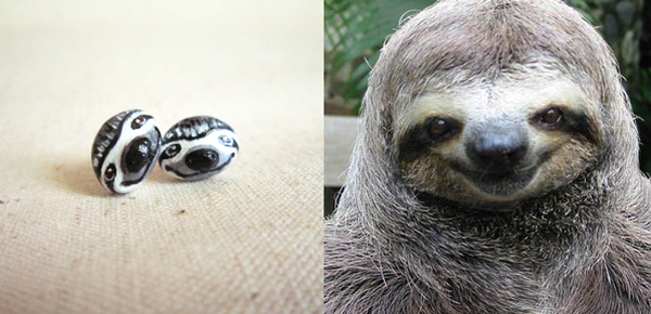 sloth stud earring,happy sloth