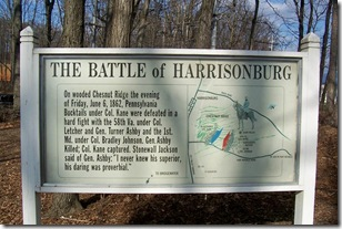 The Battle of Harrisonburg marker outside of Harrisonburg where Ashby Fell