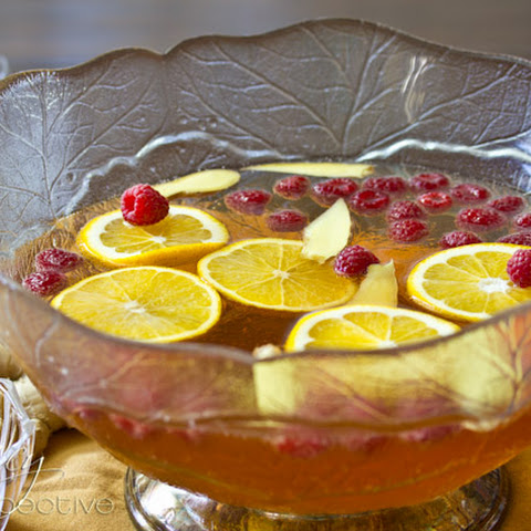 Champagne Punch with Raspberry and Orange Liqueur