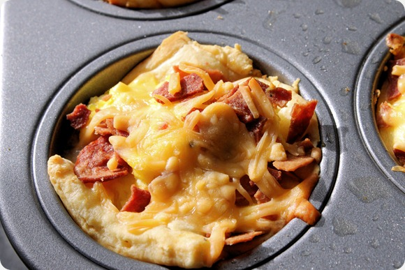 melted shredded cheese breakfast cups