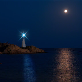 Competition by Anton Donev - Landscapes Waterscapes ( water, reflection, moon, lighthouse, sea, beach, landscape, black sea, sky, ahtopol, nature, blue, horizontal, outdoor, lamp, night, light, bulgaria,  )