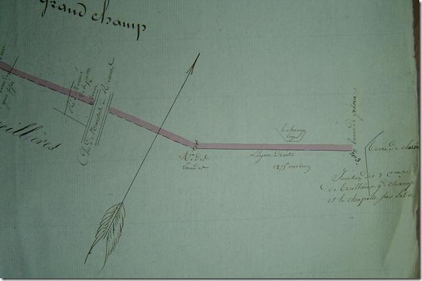 Sur le plan de 1830 la borne de Grena et les autres repères de débornement : moulin, route, petites bornes