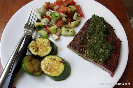 Grilled Flank Steak w/ Chimichurri Sauce, Zucchini, and Israeli Salad