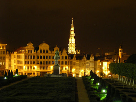 Brussels by night - the City Hall Tower