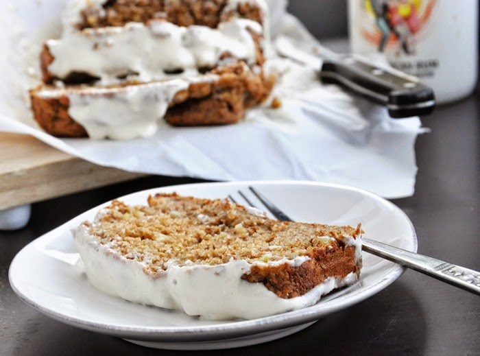 Spiced Rum Banana Nut Bread w.Cream Cheese Glaze (33)