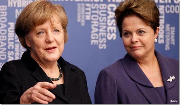 chanceler alemã Angela Merkel (e) e Dilma
