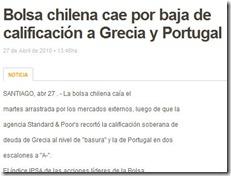 cae la bolsa de Chile por Portugal y Grecia