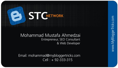 business card blogger front