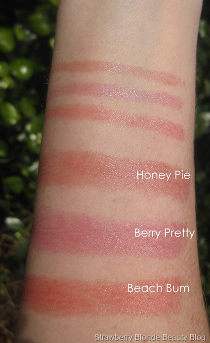 Pur-Minerals-Lip-Gloss-Stick-swatches-Honey-Pie-Berry-Pretty-Beach-Babe