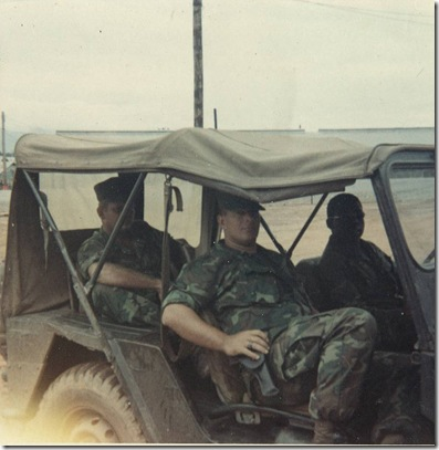 Russ in jeep in Viet Nam 1969 Driver Cpl Bundick Sgt Flohre in back