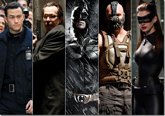 (From left) Blake, Gordon, Batman, Bane and Kyle. This is just what you thought.