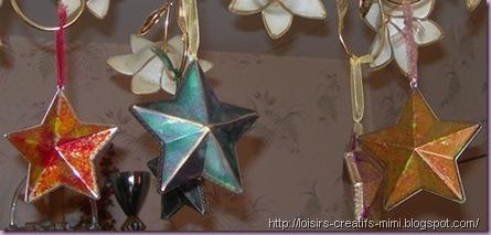 Noël, étoiles acryliques, marmorier tinte, creall glass, stickers, ruban