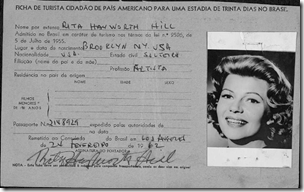 Rita Hayworth's 1962 Brazilian immigration card