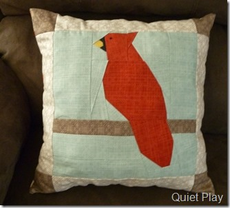 Winter's Lane Cardinal cushion