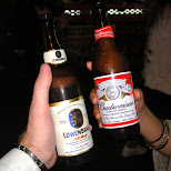 drinking budweiser and lowenbrau in roppongi in Roppongi, Tokyo, Japan