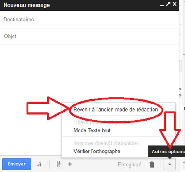 revenir à l'ancienne interface gmail