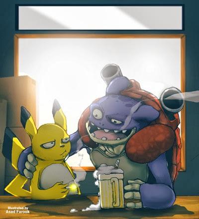 Grownup Pikachu and Blastoise
