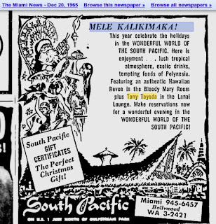 Ad for a show by Maria's father, Tony Toyoda - The Miami News, Dec 20, 1965